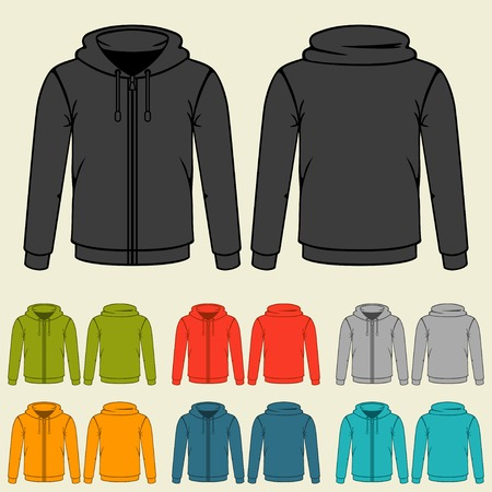 casual hooded top: Set of templates colored sweatshirts for men.