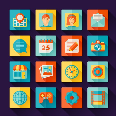 Icons web and mobile applications in flat design style. Vector