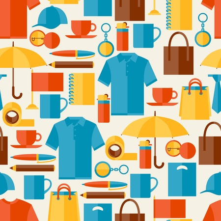 scotch tape: Seamless pattern with promotional gifts and souvenirs.