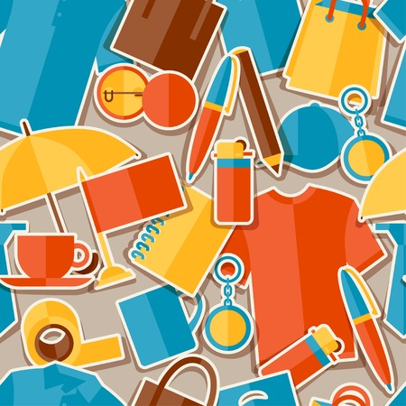 Seamless pattern with promotional gifts and souvenirs. Vector