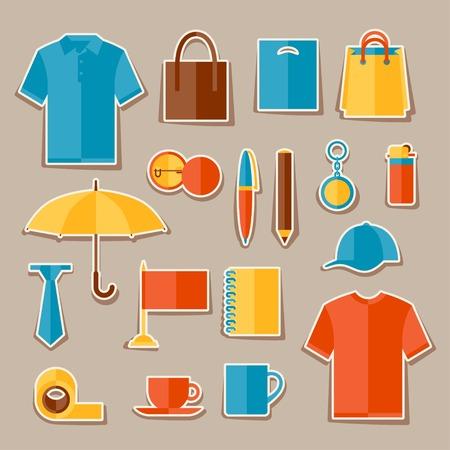 Icon set de cadeaux promotionnels et souvenirs. Illustration