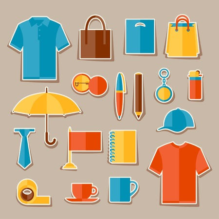Icon set of promotional gifts and souvenirs. Vector