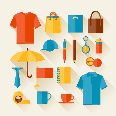 Icon set de cadeaux promotionnels et de souvenirs. Illustration