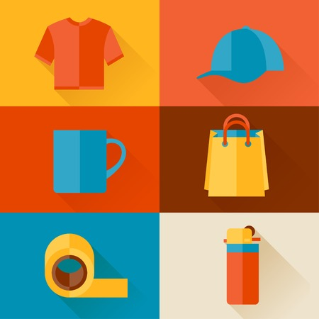 Advertising background with promotional gifts and souvenirs. Vector