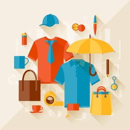 Hintergrund mit Werbung Werbegeschenke und Souvenirs. Standard-Bild - 27233803