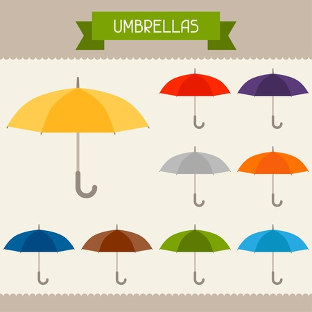 Umbrellas colored templates for your design in flat style. Vector