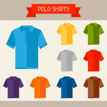 full color: Polo shirts colored templates for your design in flat style.