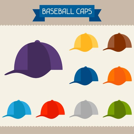 head wear: Baseball caps colored templates for your design in flat style. Illustration