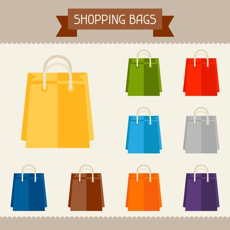 package printing: Shopping bags colored templates for your design in flat style. Illustration