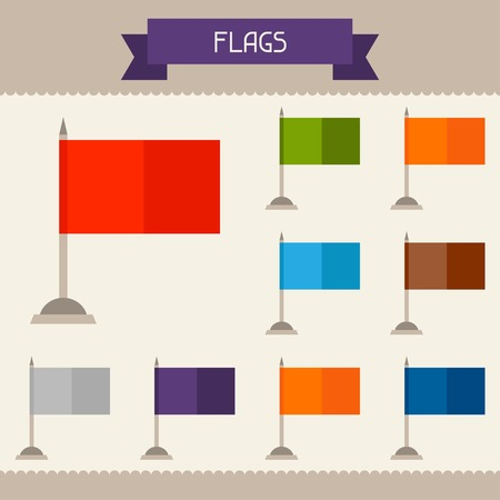 flagstaff: Flags colored templates for your design in flat style. Illustration