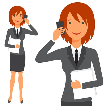 holding smart phone: Illustration of cute business lady in suit.