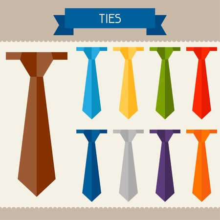 Ties colored templates for your design in flat style. Vector
