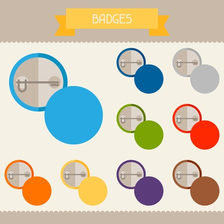 Badges colored templates for your design in flat style. Vector