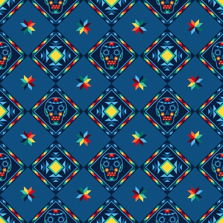 Tribal abstract seamless pattern aztec geometric background. Vector