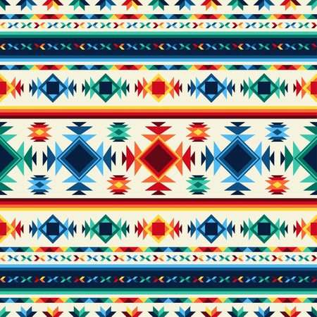 native american art: Tribal abstract seamless pattern aztec geometric background.