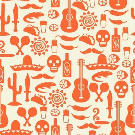cigar shape: Mexican seamless pattern with icons in native style. Illustration