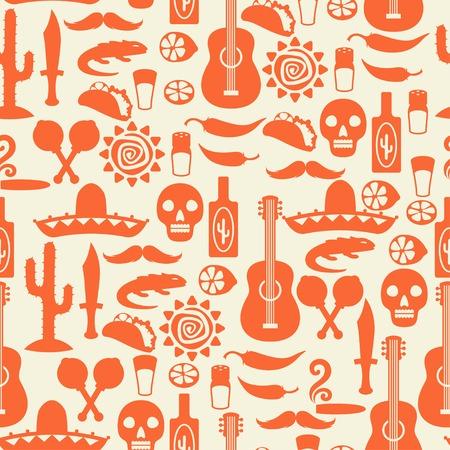 Seamless pattern mexicain avec des icônes dans le style d'origine.