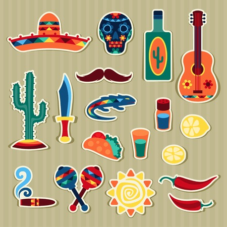 fiesta: Collection of mexican stickers in native style.