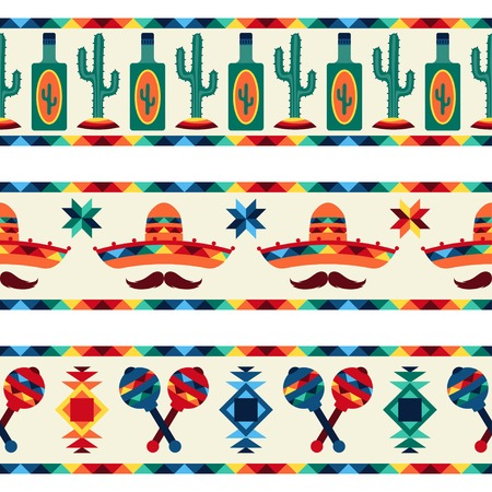 Mexican seamless borders with icons in native style. Vector