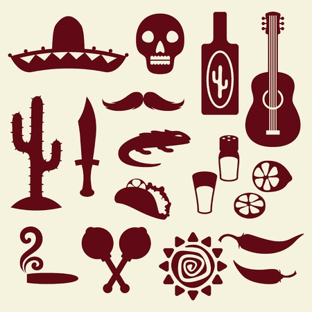 food and beverages: Collection of mexican icons in native style.