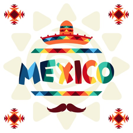 Ethnic mexican background design in native style. Vector