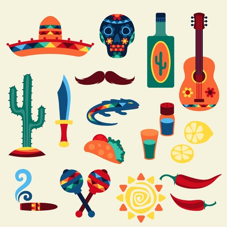 Collection of mexican icons in native style. Vector