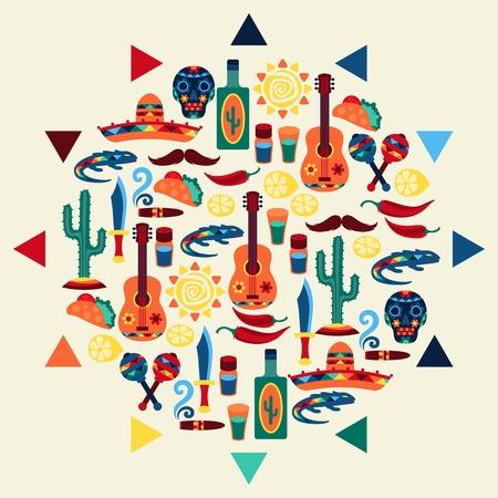 Diseño étnico fondo mexicano de estilo nativo.