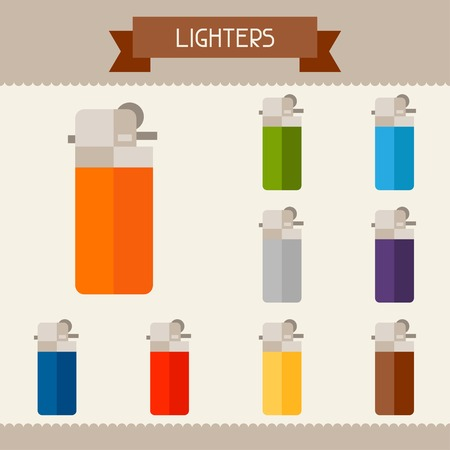 Lighters colored templates for your design in flat style. Vector