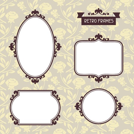 Vintage background photo frames with decorative ornament  Vector