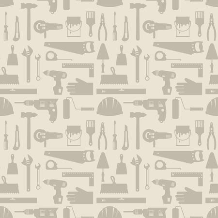 carpintero: Patrón sin fisuras con las herramientas de trabajo de reparación de los iconos. Vectores