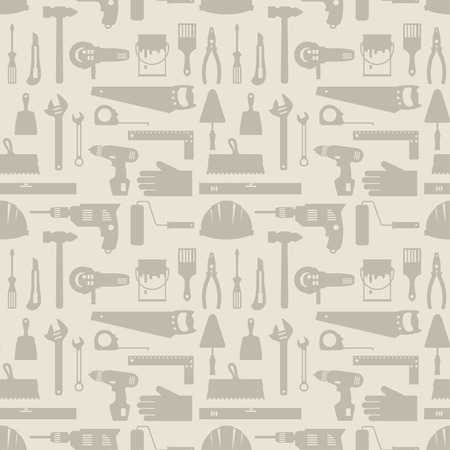 Seamless pattern with repair working tools icons. Vector