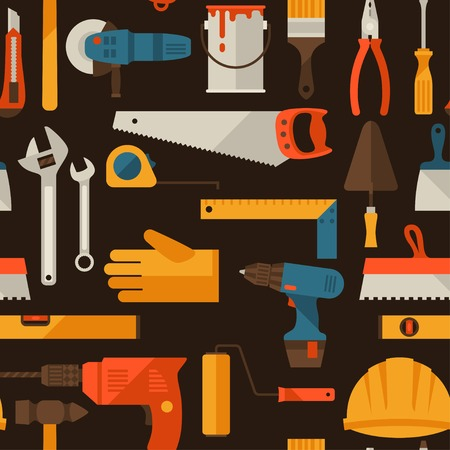 caliper: Seamless pattern with repair working tools icons.