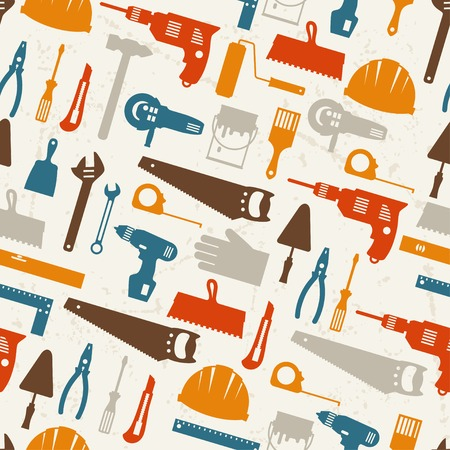 construction tools: Seamless pattern with repair working tools icons.