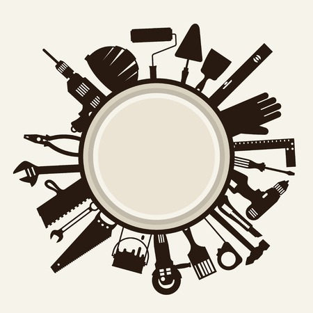 Repair and construction illustration with working tools icons. Ilustração