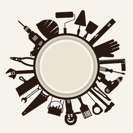 Reparatie en de bouw illustratie met werkinstrumenten iconen. Stock Illustratie