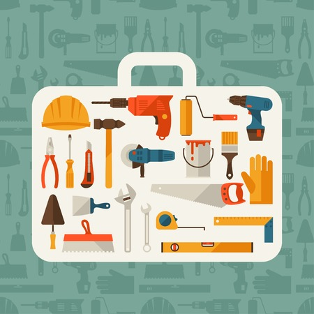 tools construction: Repair and construction illustration with working tools icons. Illustration