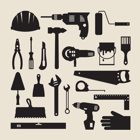 Repair and construction working tools icon set. Vector