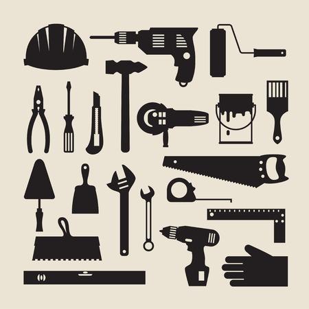 Reparatie en de bouw werkinstrumenten icon set. Stockfoto - 28065061