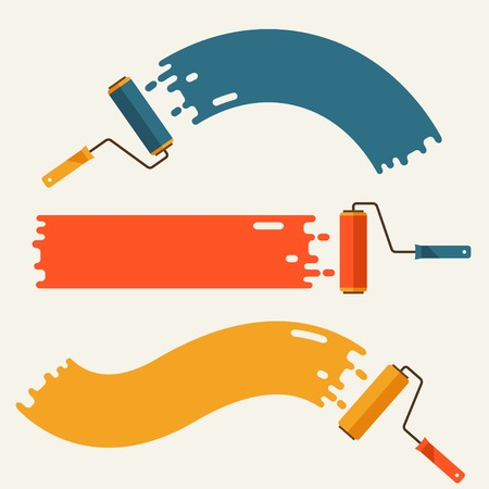 flat brush: Set of roller brushes with strips paint.