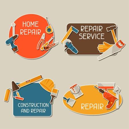 Reparatie en de bouw stickers set met werkinstrumenten.
