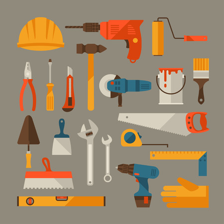 flat brush: Repair and construction working tools icon set.