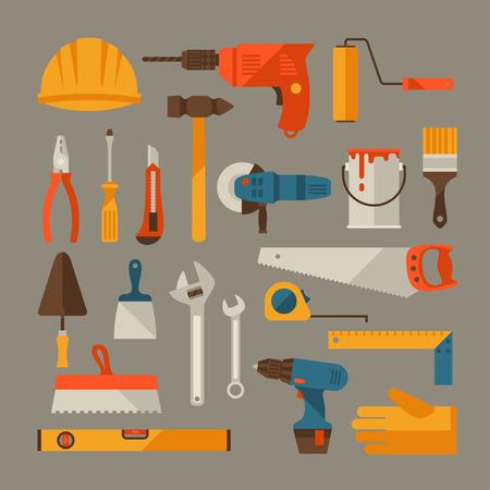 Reparatie en de bouw werkinstrumenten icon set.