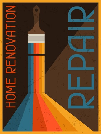 Home renovation repair. Retro poster in flat design style. Vector