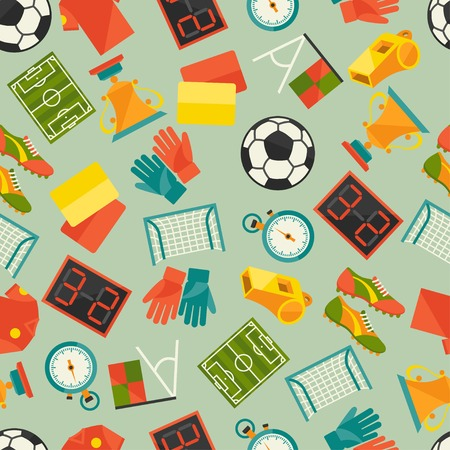 Sports seamless pattern with soccer (football) icons. Vector