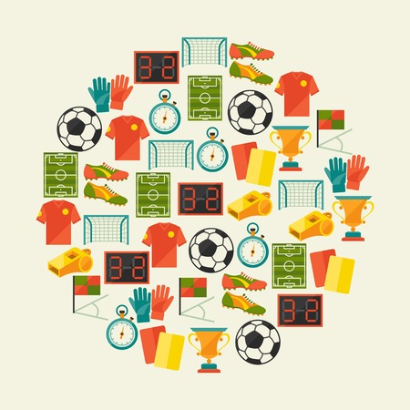 football shoe: Sports background with soccer (football) flat icons. Illustration
