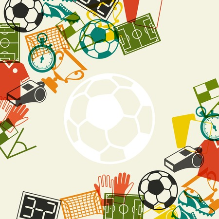 sports glove: Sports background with soccer (football) flat icons. Illustration