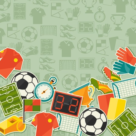Sports background with soccer (football) sticker icons. Vector