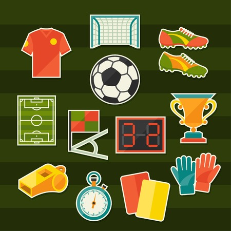 Soccer (football) sticker icon set in flat design style. Vector