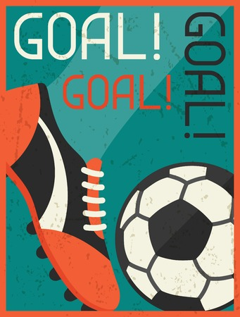 football shoes: Goal! Retro poster in flat design style.