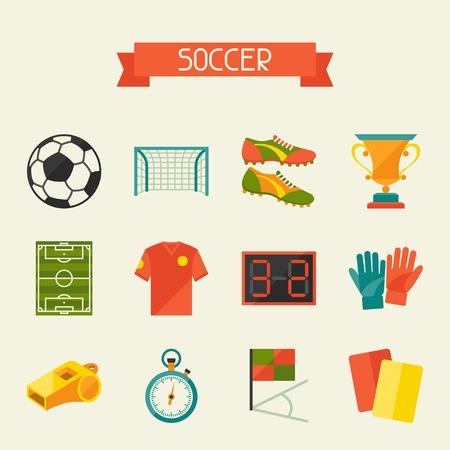 soccer shoe: Soccer (football) icon set in flat design style. Illustration